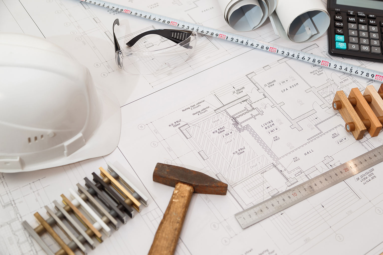 architect-or-engineer-workplace-with-drawings-and--P7P862R